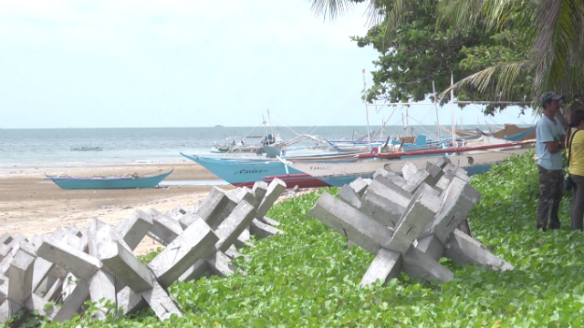 REPLENISHING RESOURCES. Jackstone-type artificial reefs lie on the shores of Barangay Bancal in Carles town. These serve as breeding grounds once immersed under water. Photo by David Lozada/ Rappler