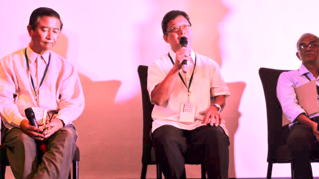 HIGHER STANDARD. Architect Robert Mirafuente (middle) with agripreneur Arsenio Barcelona (left), and engineer Arnel Alvarez (right) take the stage during an open forum at the 13th Green Forum organized by the Green Architecture Advocacy Philippines (Green AP), July 15. Picture by Tessa Barre/Rappler