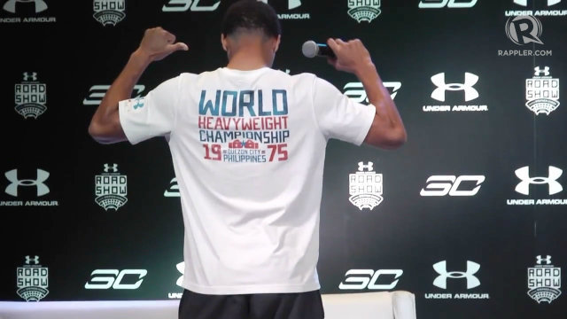 Watch steph curry pays tribute to thrilla in manila for Thrilla in manila shirt under armour