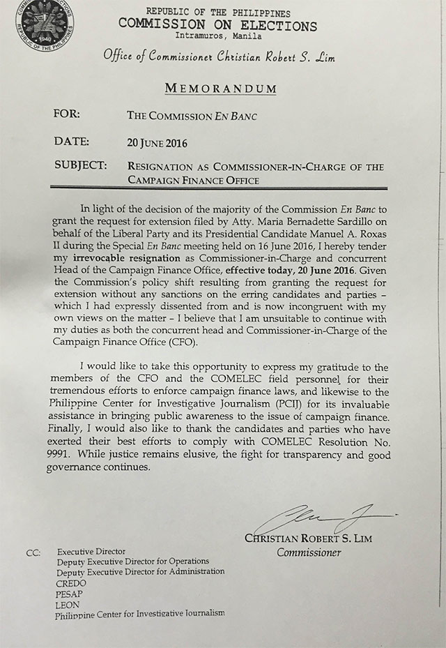 Resigned Comelec CFO Head Lim SOCE Filing Extension Illegal