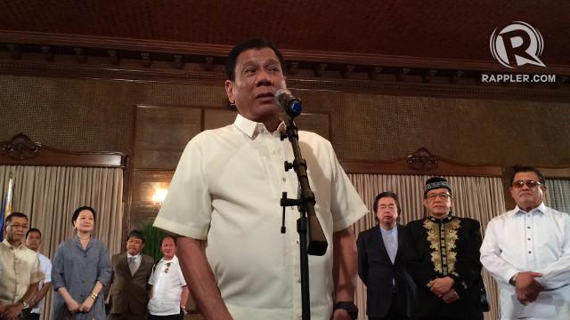 HOPEFUL FOR PEACE. President Rodrigo Duterte says he wants peace talks with the Left to push through. Photo by Pia Ranada/Rappler