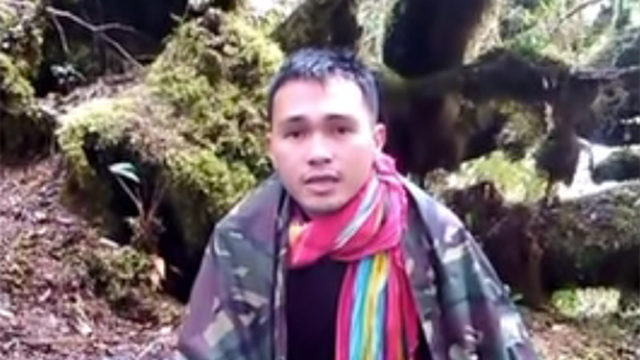 RELEASED. The New People's Army releases Corporal Adonis Lupiba, a prisoner of war. Screen grab from hostage video
