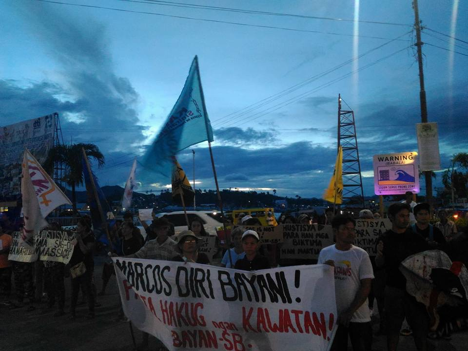 IMELDA'S HOMETOWN. Protesters in the home town of former first lady Imelda Marcos join the nationwide indignation activities on Friday, November 25, against the burial of her husband Ferdinand Marcos at the Libingan ng mga Bayani. Photo by Irish Catilogo