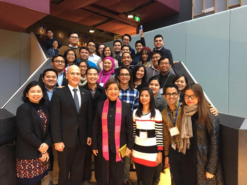 PHILIPPINE PRIDE. Filipino student participants pose for a photo with Ambassador Minda Cruz (lowest, 3rd from left), Philippine Honorary Consul of Victoria Felix Pintado (lowest, 2nd from L), and Minister and Consul General Nina Cainglet (lowest, 1st from L). Photo courtesy of FASTCO.