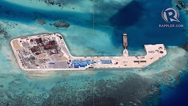 SUBJECT OF PROTESTS. A photo obtained by Rappler shows the status of reclamation activities in Keenan (Chigua) Reef in the West Philippine Sea (South China Sea) as of December 12, 2014.