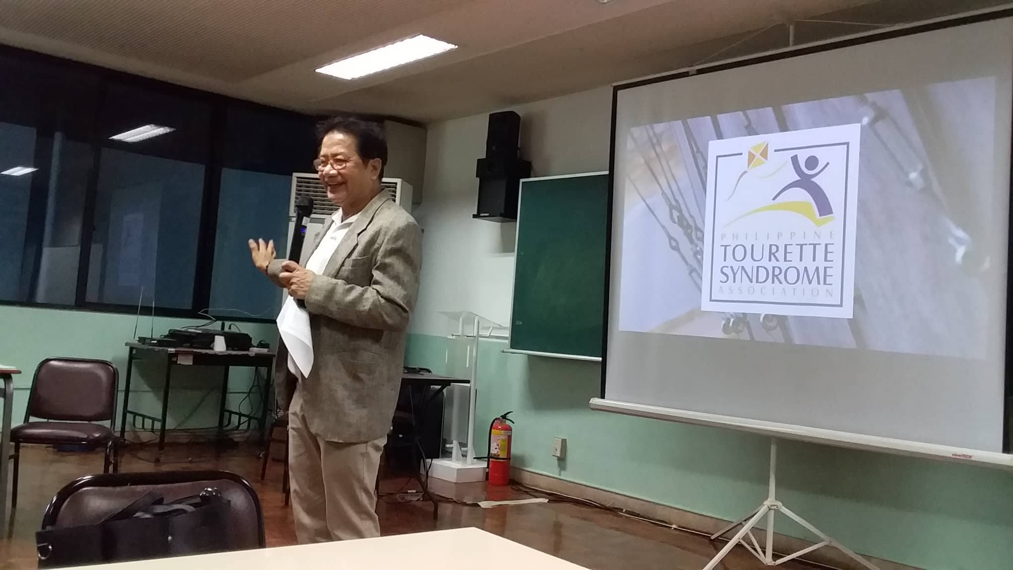 INSPIRE. PTTC-GMEA Executive Director Nestor Palabyab gives an inspirational message during the annual gathering of the Philippine Tourette Syndrome Association on March 20, 2019. Photo by Marlon Fuentes