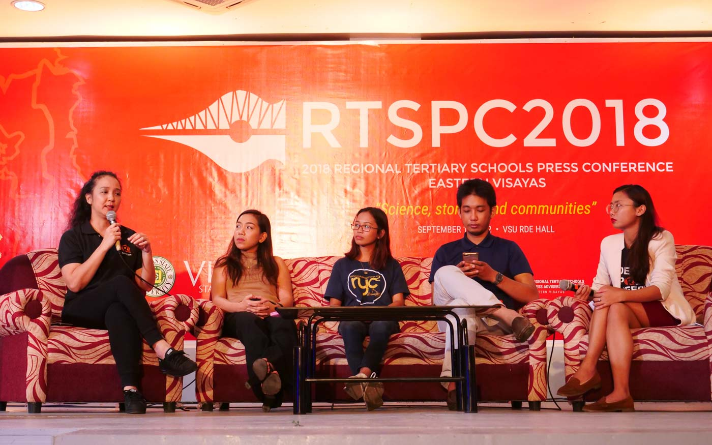 """#MOVELEYTE. Journalists discuss how campus journalists can help in the fighting disinformation online during the forum on """"Social Good in the Digital Age"""" held at the Visayas State University on September 19, 2018. Photo byJohn Paul Corton"""