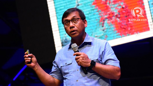 'DISASTER IMAGINATION.' Science Undersecretary Renato Solidum Jr discusses 'disaster imagination' at the Agos Summit on Disaster Preparedness. Photo by Alecs Ongcal/Rappler