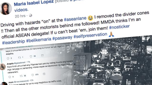 TRAFFIC VIOLATION. Maria Isabel Lopez uses the ASEAN lane along EDSA on November 11, Saturday, to escape traffic