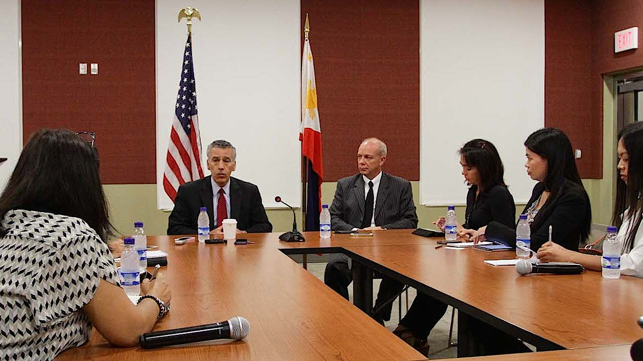 ROUNDTABLE DISCUSSION: US Ambassador Philip Goldberg says 'VFA as it is' should be followed in the case of US Marine Joseph Scott Pemberton. Photo by Mark Cristino/Rappler
