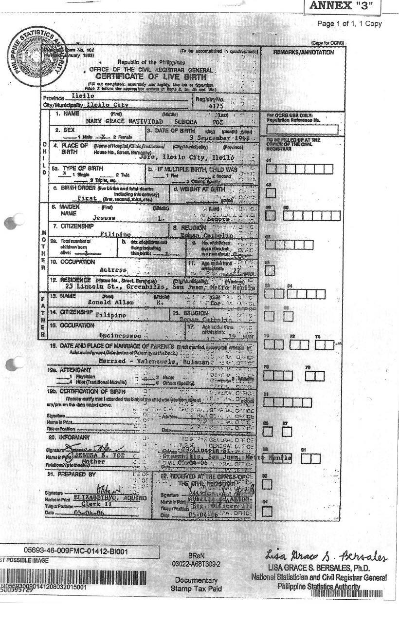 Manila City Hall Birth Certificate