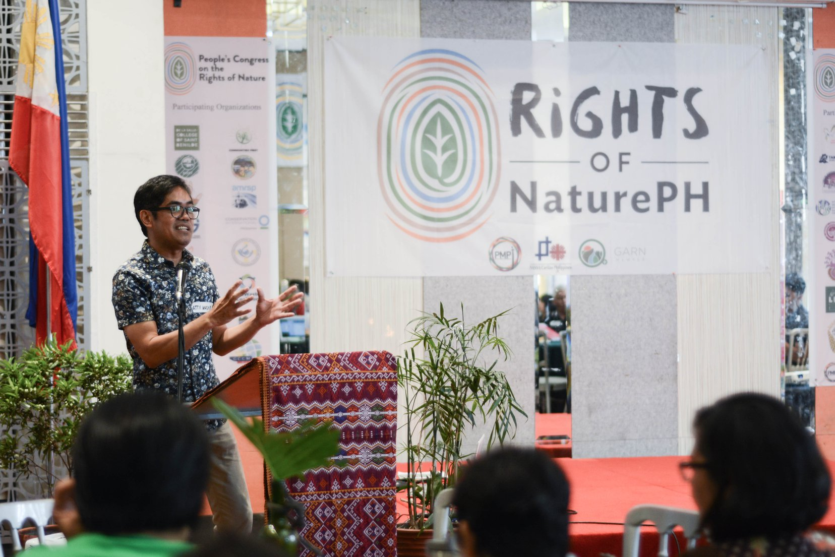 RIGHTS OF NATURE. Environmental lawyer Mario Maderazo addresses the People's Congress on the Rights of Nature in Quezon City on July 20, 2019. Photo from: PMPI, Salakyag para sa Sangnilikha Facebook page
