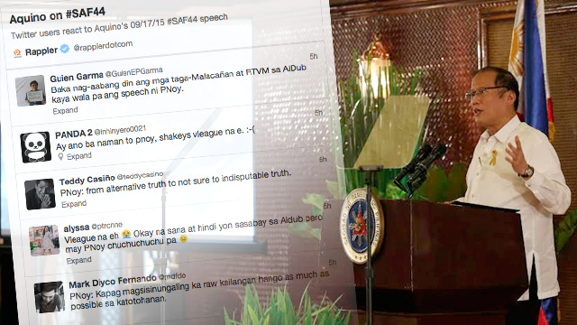 INSTANT FEEDBACK. Netizens were quick to weigh in on President Aquino's televised statement this afternoon.