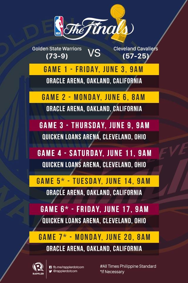 2016 NBA Finals schedule – Cavs vs Warriors