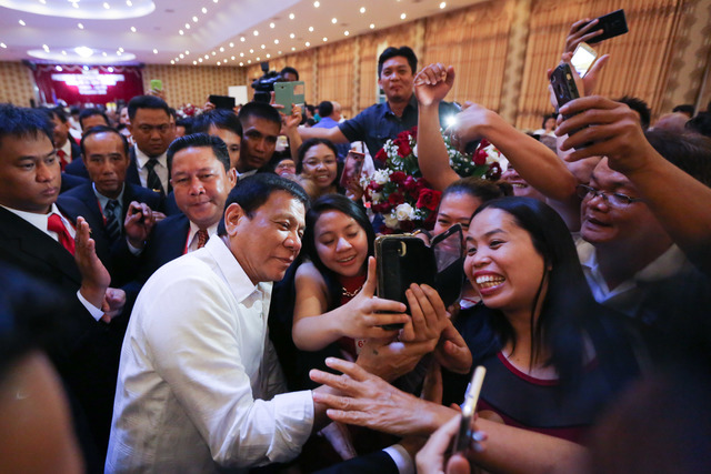 President Rodrigo Duterte during his meeting with the Filipino community in Laos on September 5, 2016. KING RODRIGUEZ/PPD