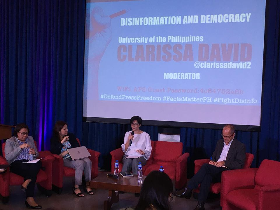 FAKE NEWS. Panelists Cheryll Ruth Soriano, Jean Encinas-Franco and Peter Greste together with moderator Clarissa David. Photo by Jed Asaph Cortes