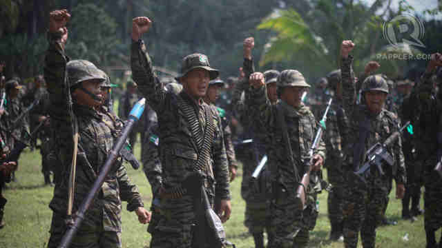 PEACE PARTNERS: File photo of MILF fighters celebrating after the signing of a peace deal with government