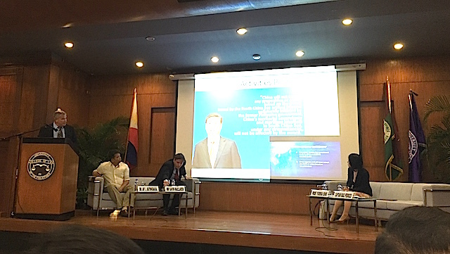 MARITIME DISPUTE. Experts discuss the West Philippine Sea (South China Sea) dispute in an academic conference at the UP College of Law on November 14, 2016.