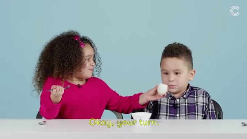 American kids try balut for the first time. Screenshot from WatchCut video