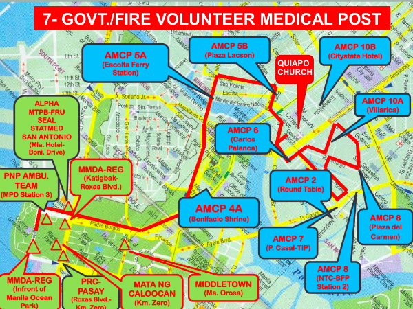 A map of advanced medical posts manned by volunteer groups provided by the Department of Health.