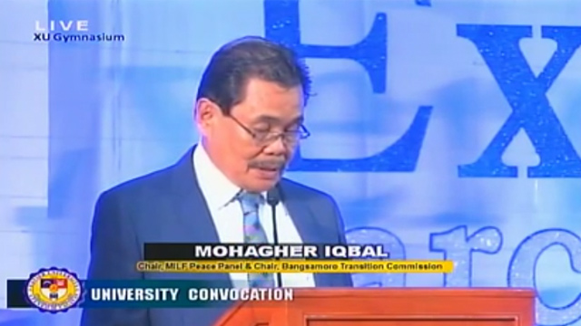 'SPEAK UP ABOUT PEACE.' Moro Islamic Liberation Front (MILF) chief peace negotiator Mohagher Iqbal speaks to graduates of Xavier University-Ateneo de Cagayan. Screenshot from Youtube