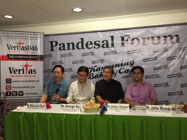 VICTIMS NEED LIVELIHOOD. Radio Veritas launches news and public service program 'Pandesal Forum' with (left to right) Wilson Lee Flores, George Siy, Caritas Manila executive director Fr. Anton Pascual, and Jarkie Miranda.