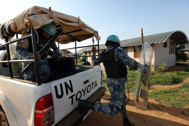 UNDER INVESTIGATION. Peacekeepers of the UN Mission in South Sudan (UNMISS) patrol the area around the UNMISS compound at UN House Jebel in Juba, South Sudan, July 15, 2016. UN Photo/Eric Kanalstein