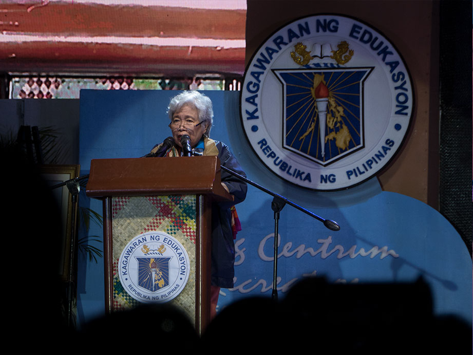 EDUCATION CHIEF. Education Secretary Leonor Briones recognizes the role teachers play in the positive change the country aspires to achieve