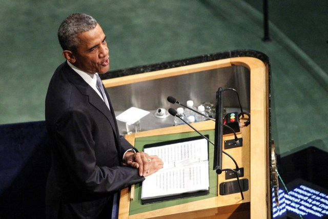 US President Barack Obama speaks at the opening session of the 70th Session of the United Nations General Assembly on September 28, 2015 in New York. AFP PHOTO/KENA BETANCUR
