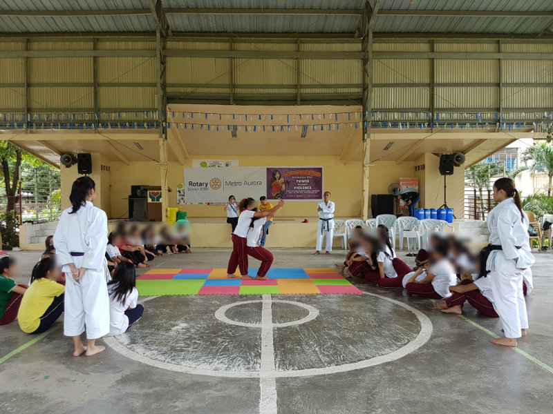 EMPOWERMENT. Volunteer instructors from the Japanese Karate Association teach young girls basic self-defense. Photo courtesy of Mildred Fragante