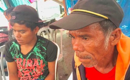 RESCUED. Thirty four Lumad escape from what they described as slave-like conditions in a fish farm owned by a Chinese businessman in Sual, Pangasinan. Photo by Henrie Enaje