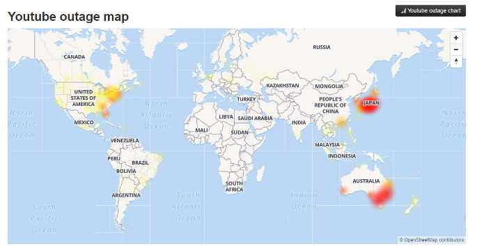 Map Of Australia Youtube.Youtube Suffers Outage In U S Japan Australia