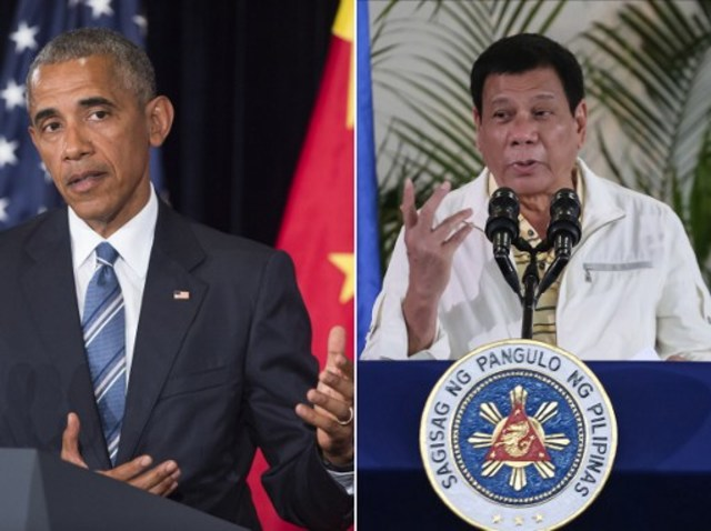 HOLDING US TO ACCOUNT. This combination image of two photographs taken on September  5, 2016 shows, at left, US President Barack Obama speaking during a press conference following the conclusion of the G20 summit in Hangzhou, China, and at right, Philippine President Rodrigo Duterte speaking during a press conference in Davao City, the Philippines,  prior to his departure for Laos to attend the recently concluded ASEAN summit. Images by Saul Loeb and Manman Dejeto/AFP