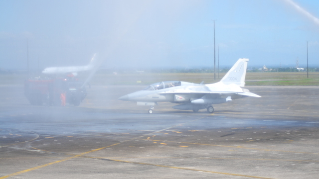 WATER CANNON SALUTE. The two brand new fighter jets were formally turned over to the Philippine Air Force on December 1. PAF photo