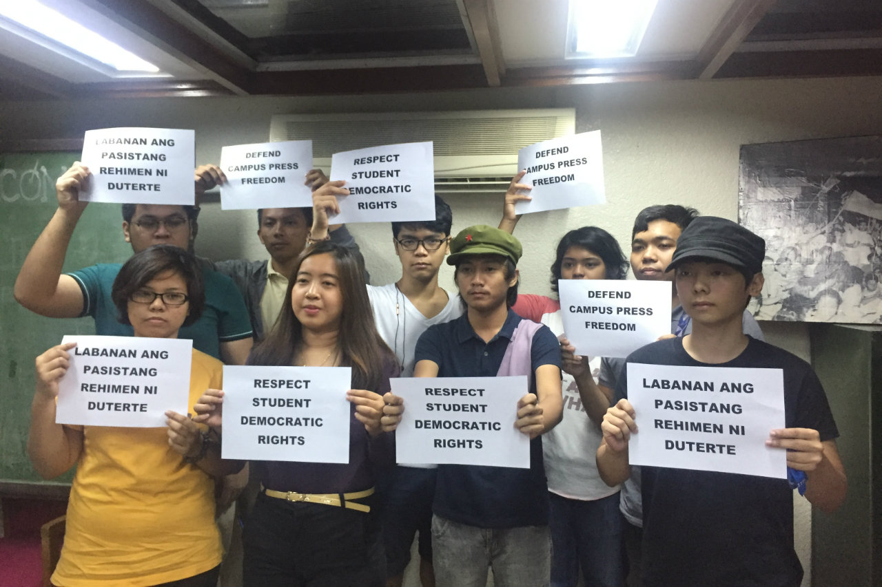 CAMPUS REPRESSION. Student leaders from different universities including the Polytechnic University of the Philippines (PUP) decry alleged campus repression. Photo by Danielle Nakpil/Rappler