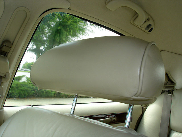 FOR PROTECTION. Headrests limit the movement of the head to protect from whiplash in the event of a crash. Photo from BrendelSignature on Wikipedia