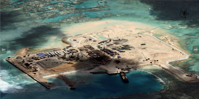 FUELING CONCERN. New images released by the Center for Strategic and International Studies – such as this photo of Cuarteron Reef – show the extent of China's reclamation activities in the South China Sea. Photo courtesy of CSIS