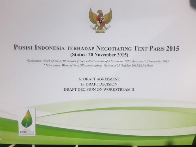 Posisi Indonesia terhadap teks negosiasi Paris 2015.