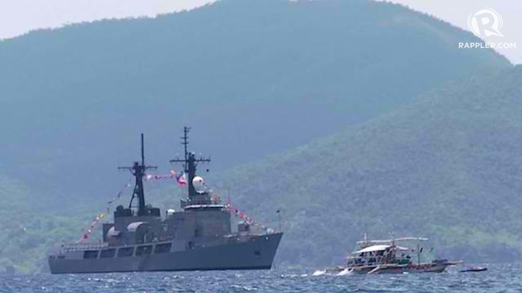OYSTER BAY: The small bay inside Ulugan Bay serves as the operational base for Philippine warships. Rappler photo