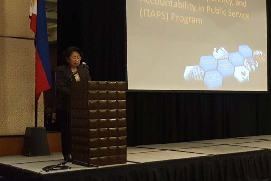 KEYNOTE. Ombudsman Conchita Carpio Morales speaks at the International Anti-Corruption Forum on December 9, 2016 in Quezon City. Photo by Happy Feraren/Rappler