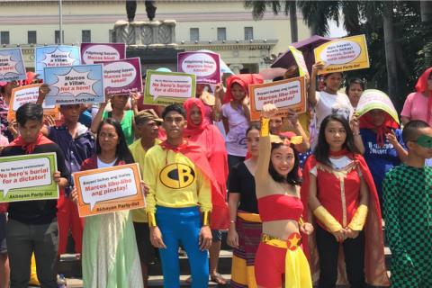 HEROES' CEMETERY. Wearing Filipino superhero costumes, activists stage a protest at the Liwasang Bonifacio on Saturday, July 23, denouncing President Rodrigo Duterte's plan to bury the late dictator in the Libingan ng mga Bayani (Heroes' Cemetery). Photo by Akbayan