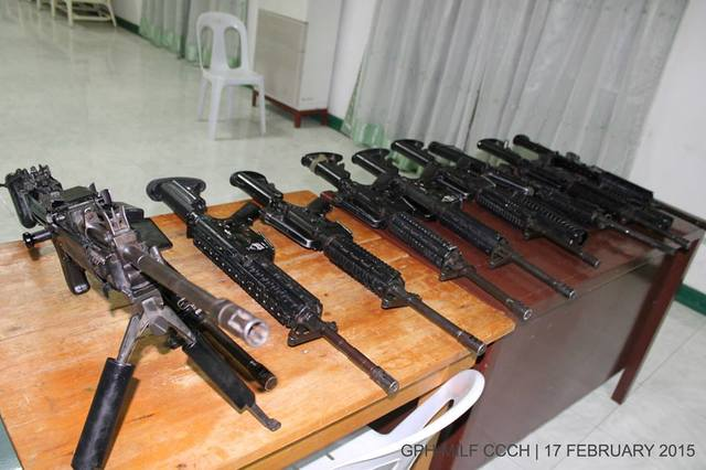GESTURE. Some of PNP-SAF firearms returned by the Moro Islamic Liberation Front. Photo by OPAPP
