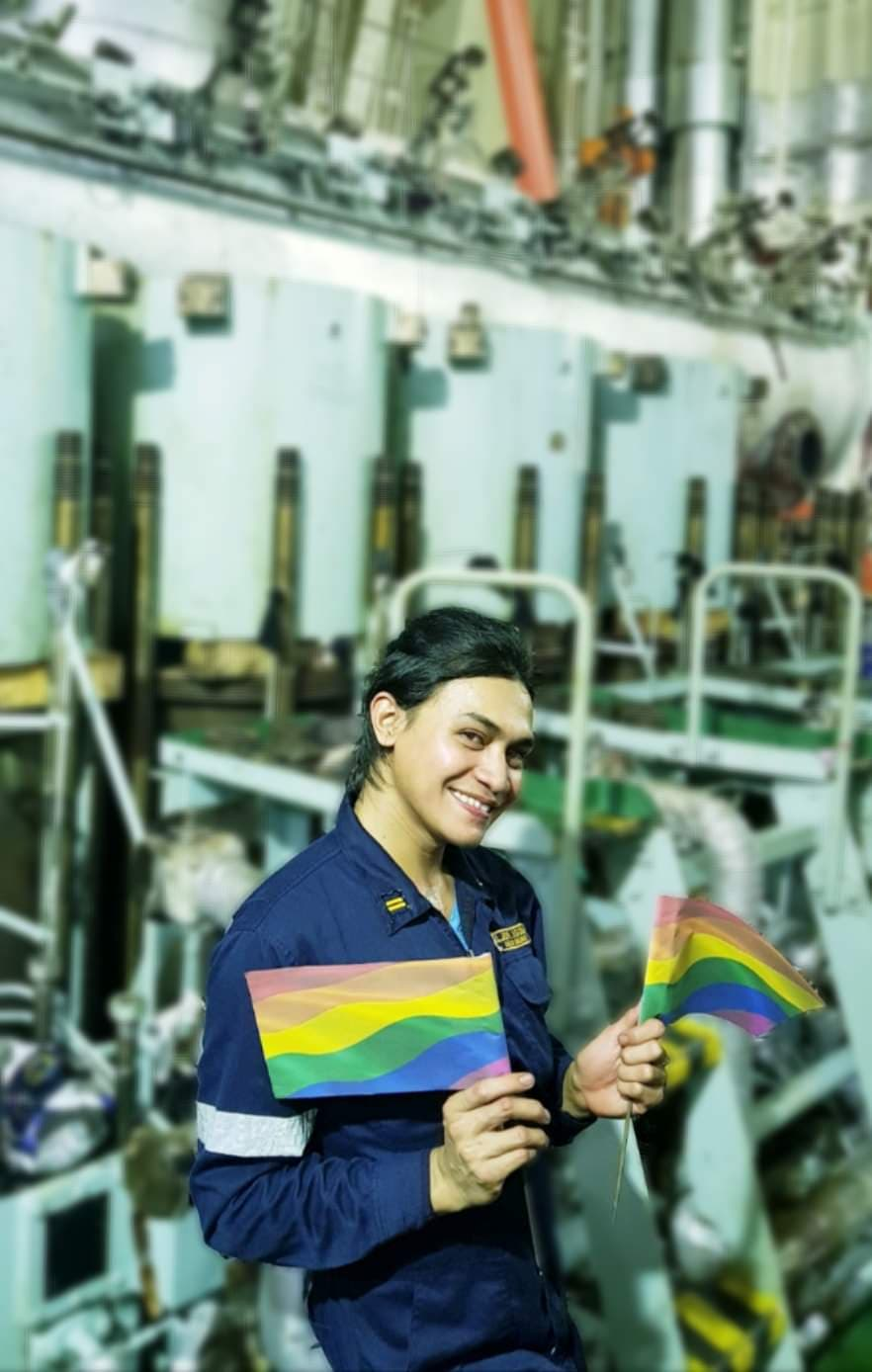 PRIDE FLAG. Asked why she chose to work as a seafarer, Dyosa says: 'Because I can!'