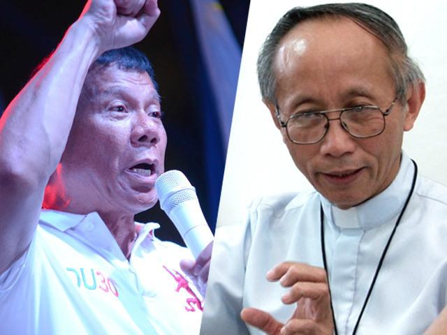 EXTRAJUDICIAL KILLINGS. Cagayan de Oro Archbishop Antonio Ledesma slams Davao City Mayor Rodrigo Duterte for extrajudicial killings in his own city. Photo of Duterte (left) by Rappler; photo of Ledesma (right) courtesy of CBCP News