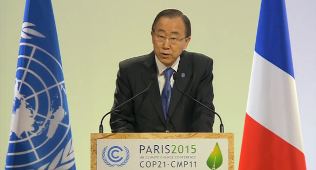 Sekjen PBB Ban Ki-moon saat menyampaikan pidato di COP 21, Paris, Prancis, pada 7 Desember 2015. Foto oleh Pia Ranada/Rappler