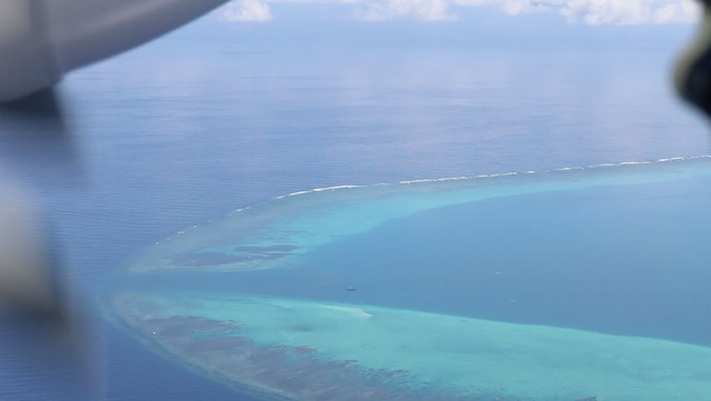 THE MOUTH OF SCARBOROUGH. Screenshot of a video taken by the Philippine Coast Guard of its first patrol on August 5, 2016 shows a Chinese Coast Guard ship guarding the mouth of the shoal
