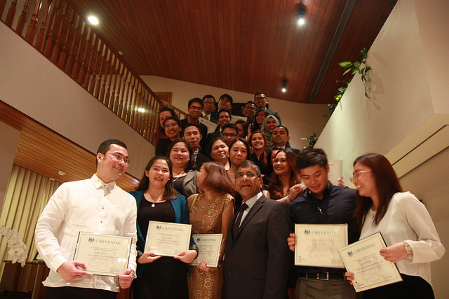 2016 CHEVENING SCHOLARS. Ambassador Asif Ahmad pose with 26 Filipinos who are awarded Chevening Scholarships to study in the UK. Photo by British Embassy Manila