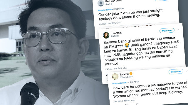 OUT FOR BLOOD. Netizens express their disapproval over ACTS-OFW Representative John Bertiz's excuse for his behavior.