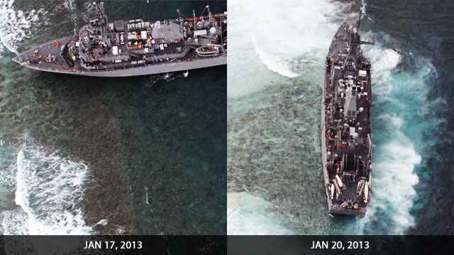Rappler file photo of the USS Guardian in Tubbataha.