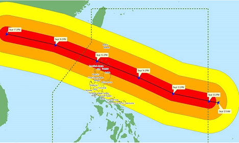 CHARLIE. Areas within a 125-kilometer radius from the center of Typhoon Ompong (Mangkhut) are expected to experience heavy to occasionally intense rains. Photo from DILG-CODIX